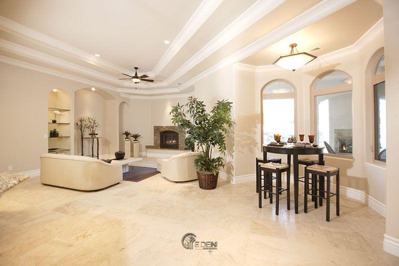 Mẫu trần thạch cao giật cấp hiện đại, sang trọng cho phòng khách (3)