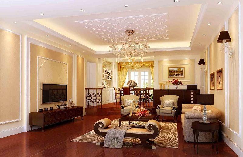 Mẫu trần thạch cao giật cấp hiện đại, sang trọng cho phòng khách (2)