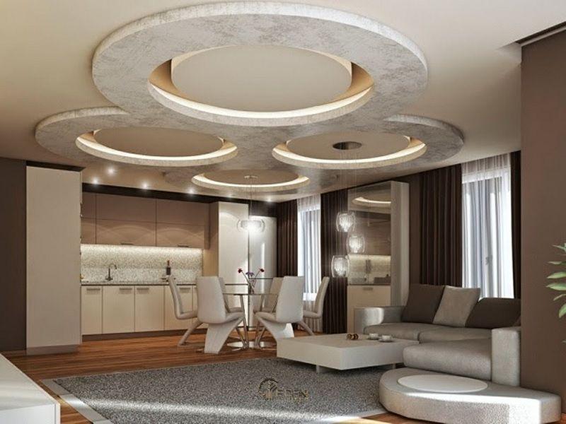 Mẫu trần thạch cao giật cấp hiện đại, sang trọng cho phòng khách (1)