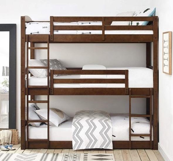 Mẫu giường 3 tầng cho người lớn kiểu dáng đơn giản