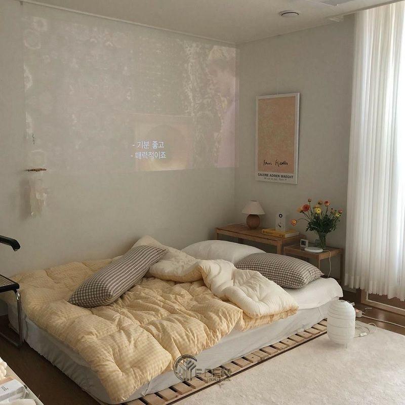 Mẫu giường gỗ trang trí phòng ngủ phong cách Hàn Quốc (4)