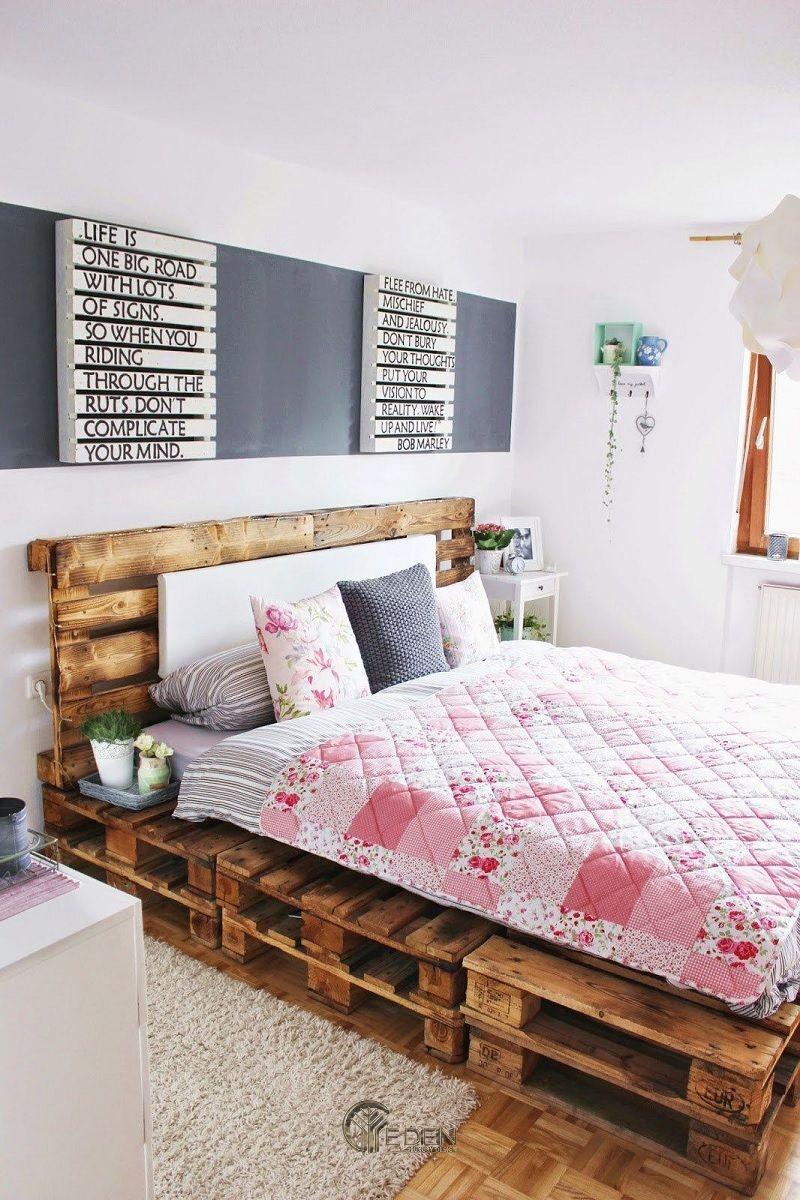Mẫu giường gỗ trang trí phòng ngủ phong cách Vintage (5)
