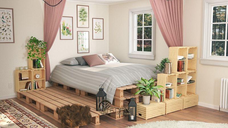 """Mẫu giường gỗ trang trí phòng ngủ phong cách """"Xanh"""" (3)"""