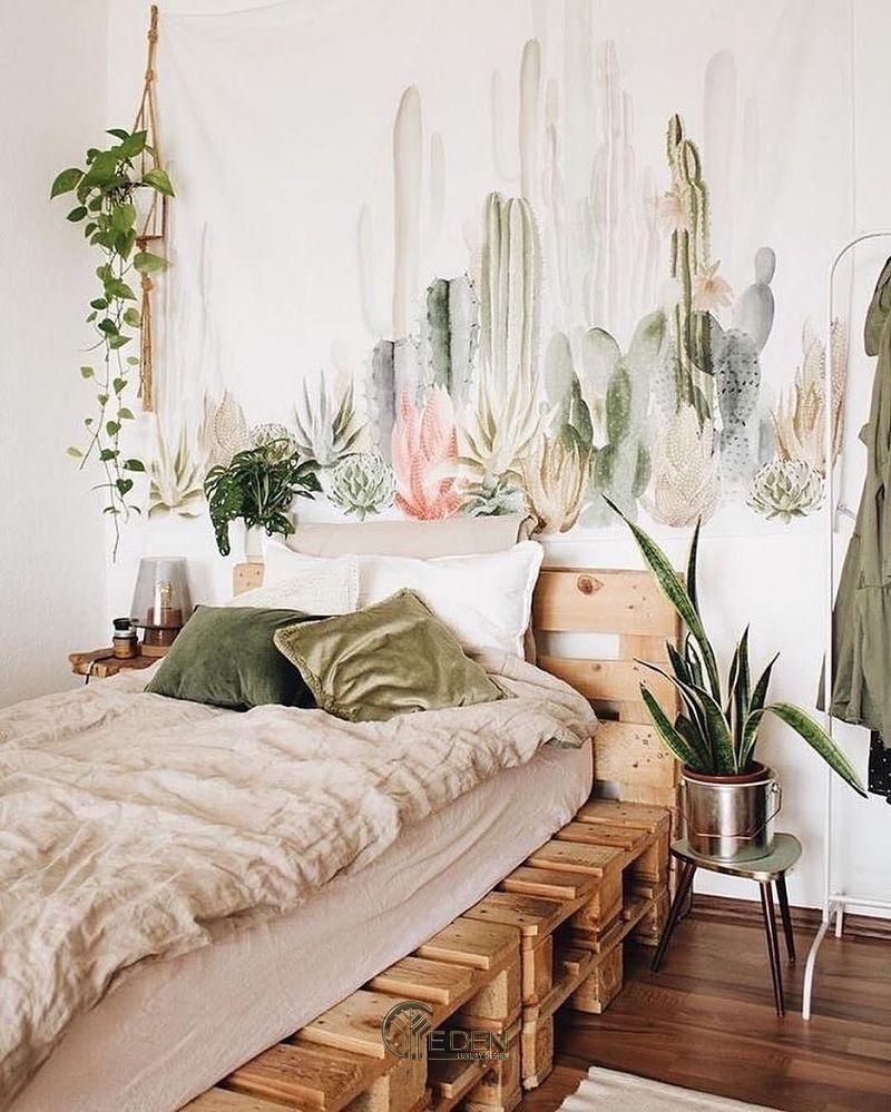 """Mẫu giường gỗ trang trí phòng ngủ phong cách """"Xanh"""" (2)"""