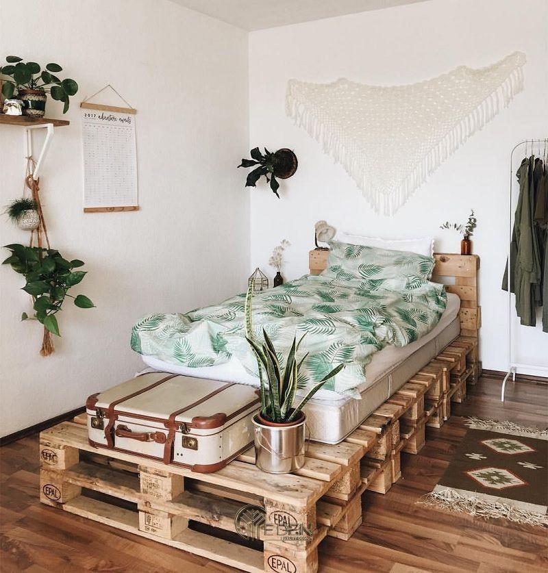 """Mẫu giường gỗ trang trí phòng ngủ phong cách """"Xanh"""" (1)"""