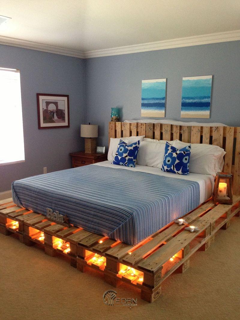 Mẫu giường gỗ trang trí kết hợp đèn led tạo điểm nhấn (3)
