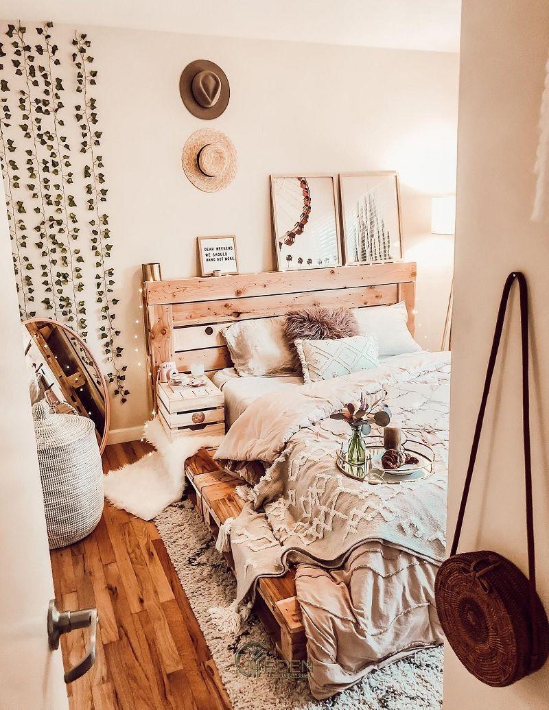 Mẫu giường gỗ trang trí phòng ngủ phong cách Boho (1)