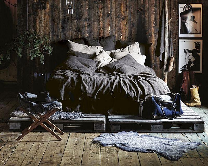 Mẫu giường gỗ trang trí phòng ngủ phong cách Rustic (1)