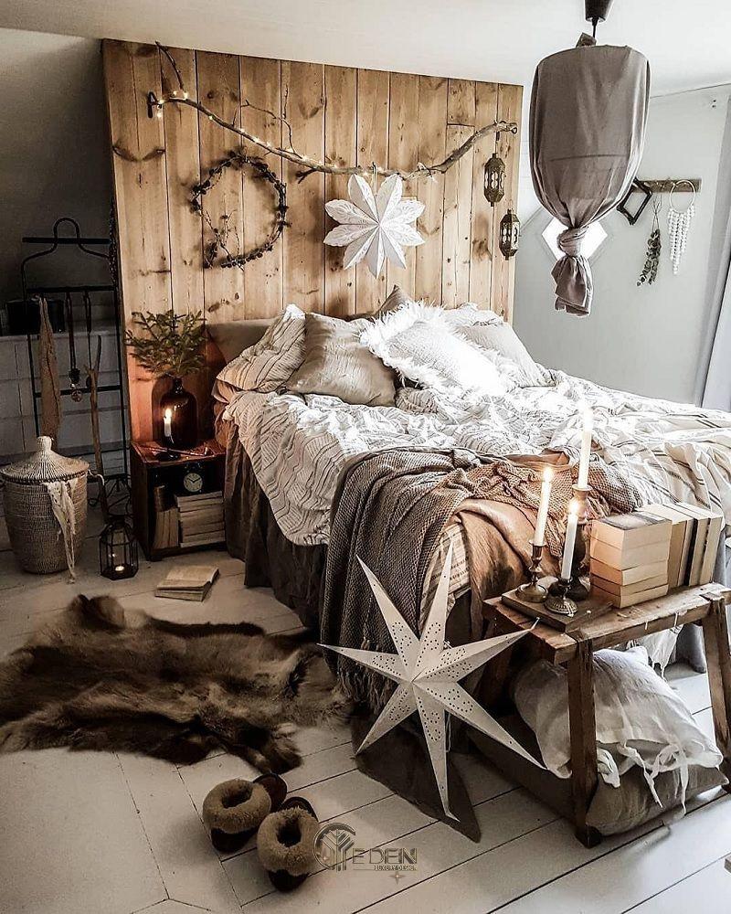Mẫu giường gỗ trang trí phòng ngủ phong cách Rustic (3)