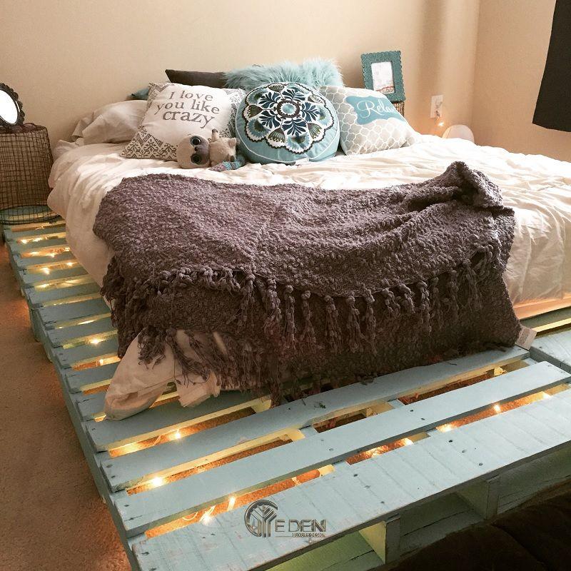 Mẫu giường gỗ trang trí kết hợp đèn led tạo điểm nhấn (2)