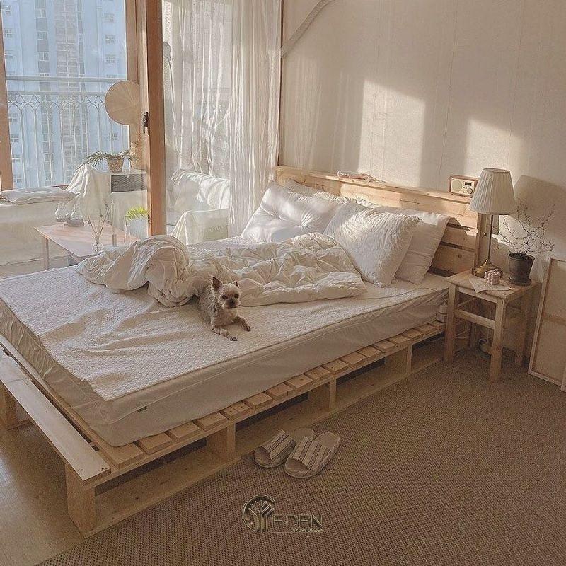 Mẫu giường gỗ trang trí phòng ngủ phong cách Hàn Quốc (2)