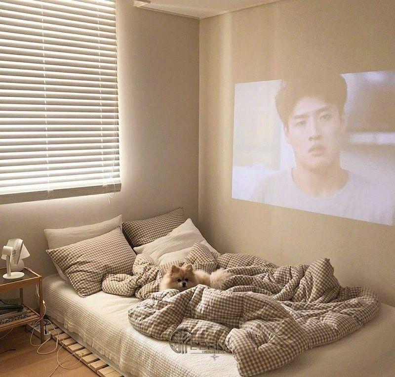 Mẫu giường gỗ trang trí phòng ngủ phong cách Hàn Quốc (5)