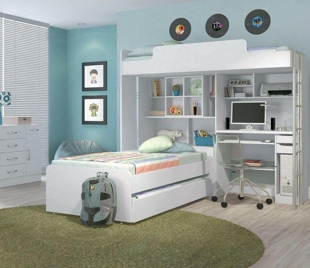 Mẫu giường tầng kết hợp bàn học ở đầu giường cho người lớn