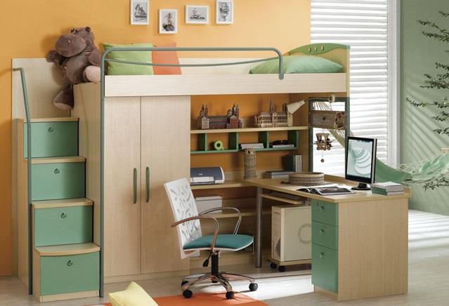 Mẫu giường tầng kết hợp bàn làm việc chất liệu gỗ công nghiệp