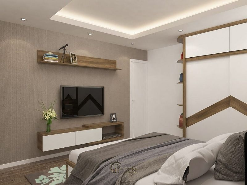 Mẫu thiết kế phòng ngủ với kệ tivi hiện đại 9