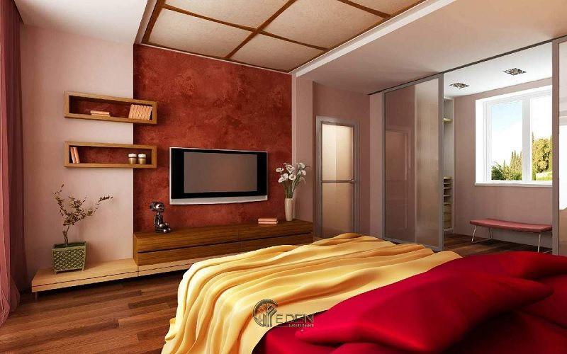 Mẫu thiết kế phòng ngủ tân cổ điển với kệ tivi hiện đại 7
