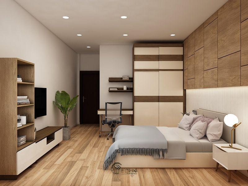 Mẫu thiết kế phòng ngủ với kệ tivi hiện đại 6