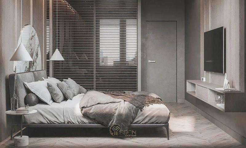 Mẫu kệ tivi đơn giản, hiện đại cho phòng ngủ tối giản với gam màu trắng, xám