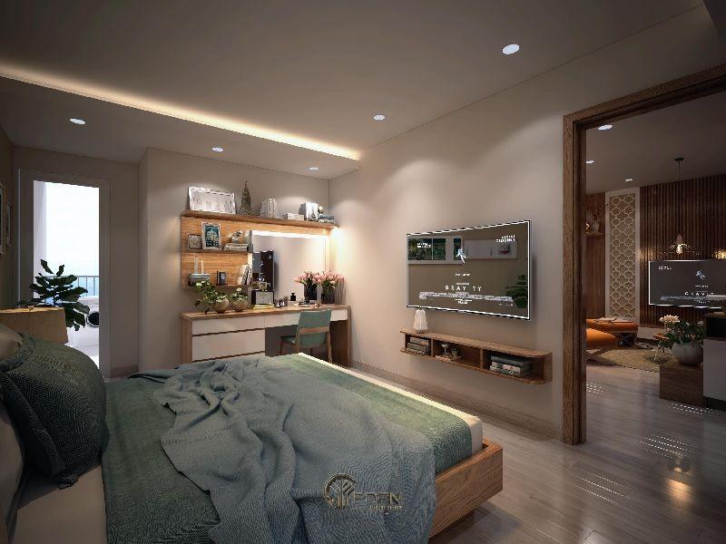 Mẫu thiết kế phòng ngủ với kệ tivi hiện đại 5