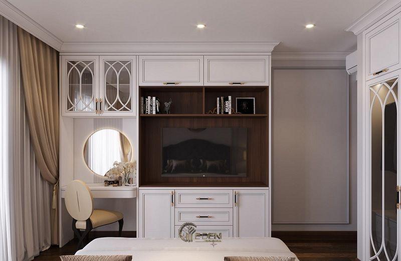 Mẫu thiết kế phòng ngủ cổ điển với kệ tivi hiện đại 4
