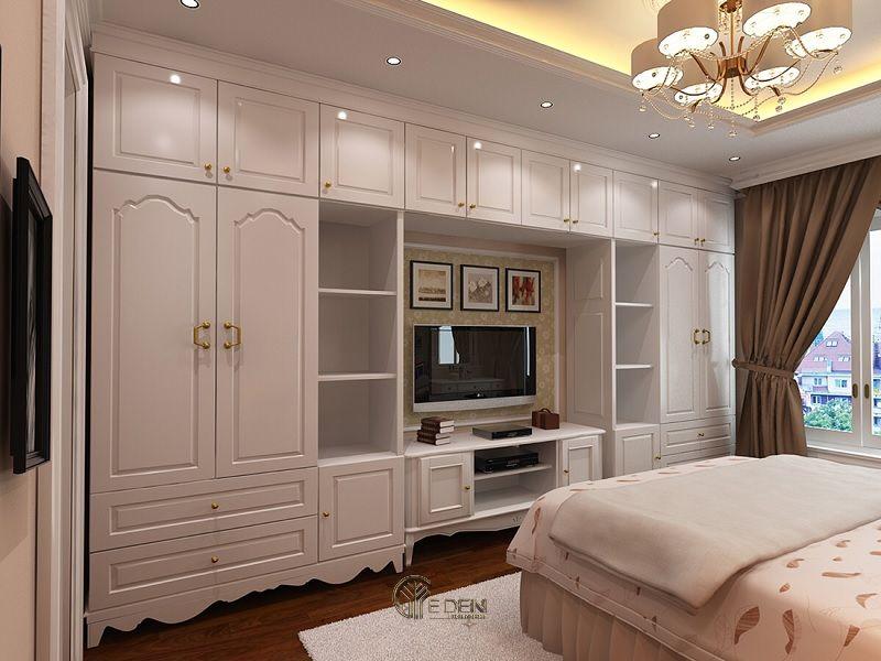 Mẫu thiết kế phòng ngủ cổ điển với kệ tivi hiện đại 3