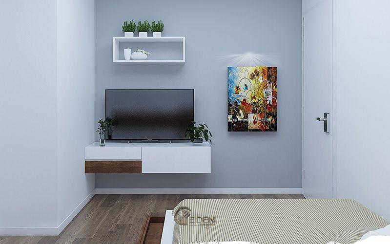 Mẫu thiết kế phòng ngủ nhỏ với kệ tivi hiện đại 2