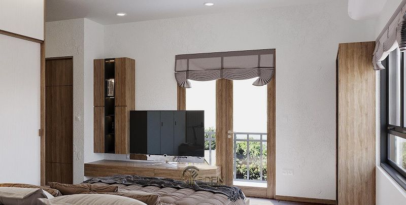 Mẫu thiết kế phòng ngủ với kệ tivi hiện đại 1