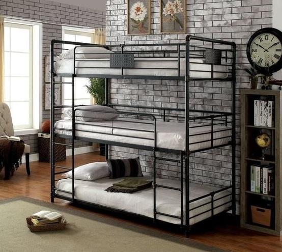 Mẫu giường 3 tần cho người lớn chất liệu sắt sơn màu đen