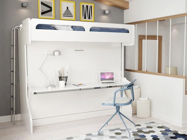 Giường tầng kết hợp bàn học cho người lớn gam màu trắng