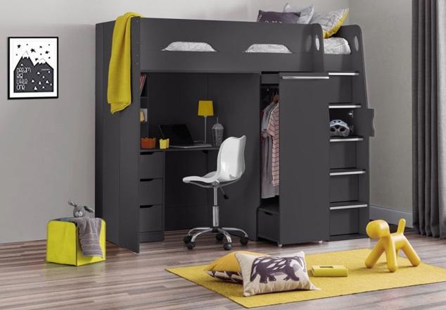 Giường tầng kết hợp bàn học cho người lớn chất liệu gỗ gam màu đen
