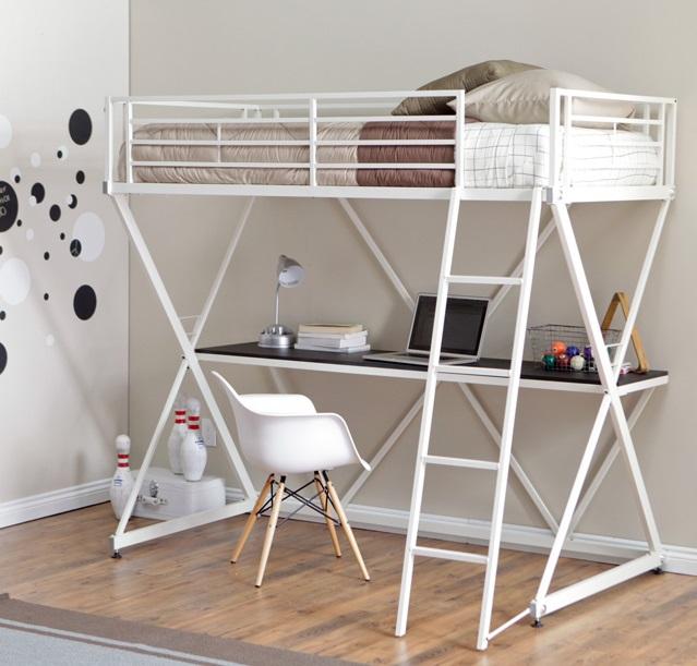 Mẫu giường 2 tầng sắt cho người lớn kết hợp bàn làm việc
