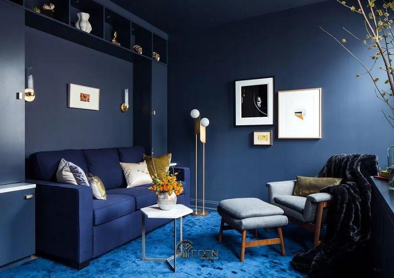 Mẫu thiết kế phòng khách với màu sơn phòng khách hiện đại xanh lam đơn sắc