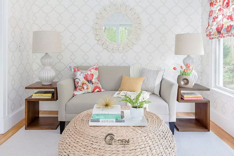 Mẫu thiết kế phòng khách với màu be Beige và trắng