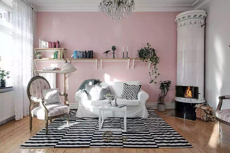 Mẫu thiết kế phòng khách với màu tím hoặc hồng kèm theo màu xám, đen hiên đại