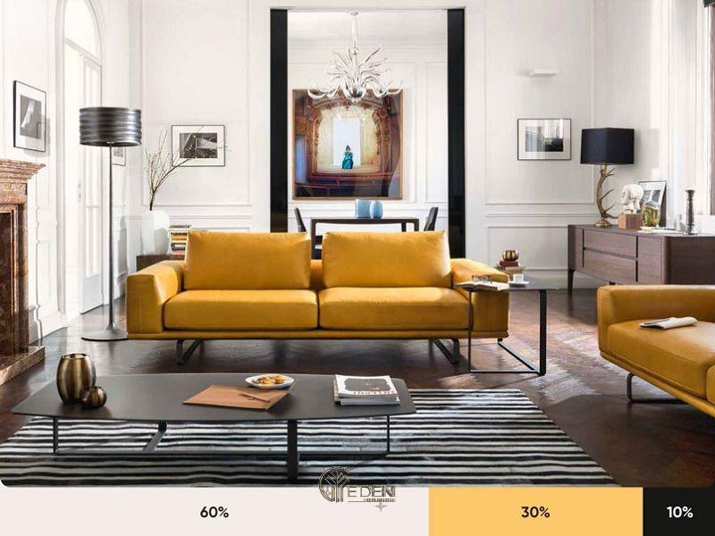 Lựa chọn màu sơn phòng khách theo nguyên tắc 60-30-10