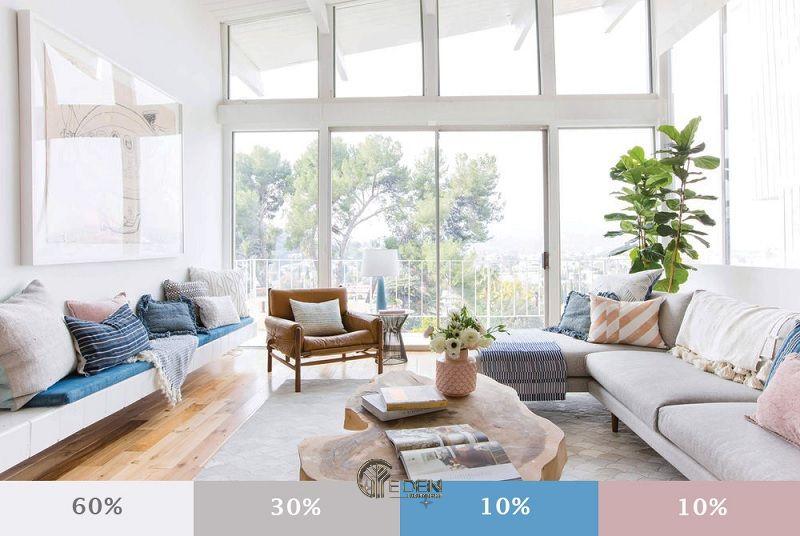 Linh hoạt khi lựa chọn màu sơn phòng khách theo nguyên tắc 60-30-10