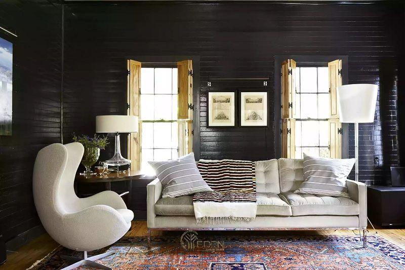 Mẫu thiết kế phòng khách mộc mạc hiện đại với màu xanh lá cây và màu kem