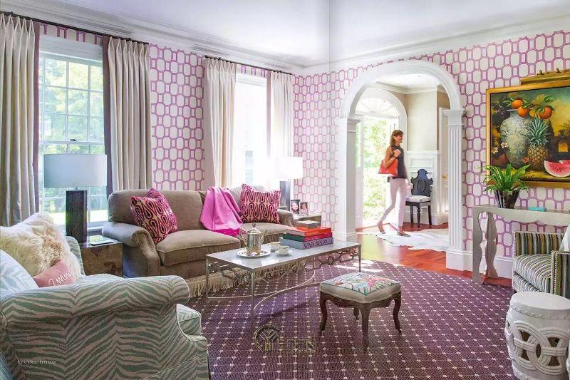 Mẫu thiết kế phòng khách với màu sơn phòng khách hiện đại tím và hồng