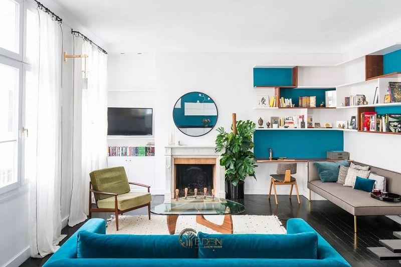 Mẫu thiết kế phòng khách Scandinavian với Màu xanh lam và trắng