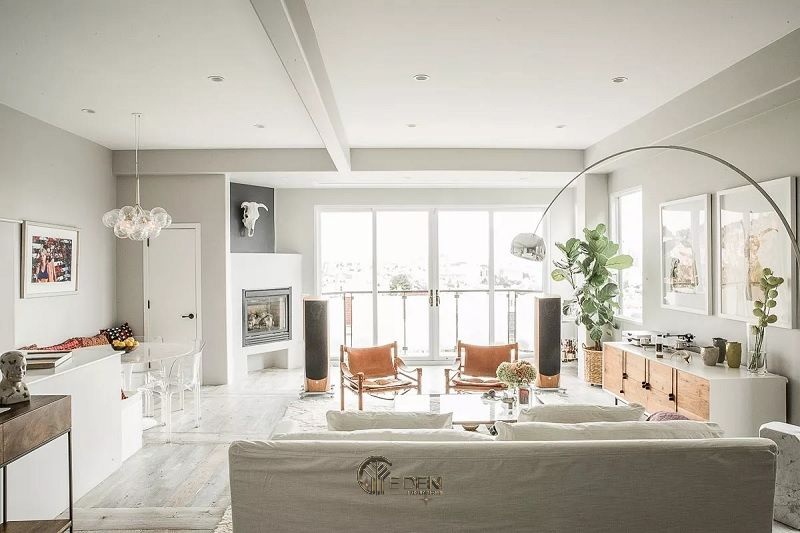 Mẫu thiết kế phòng khách với màu xám và trắng sữa