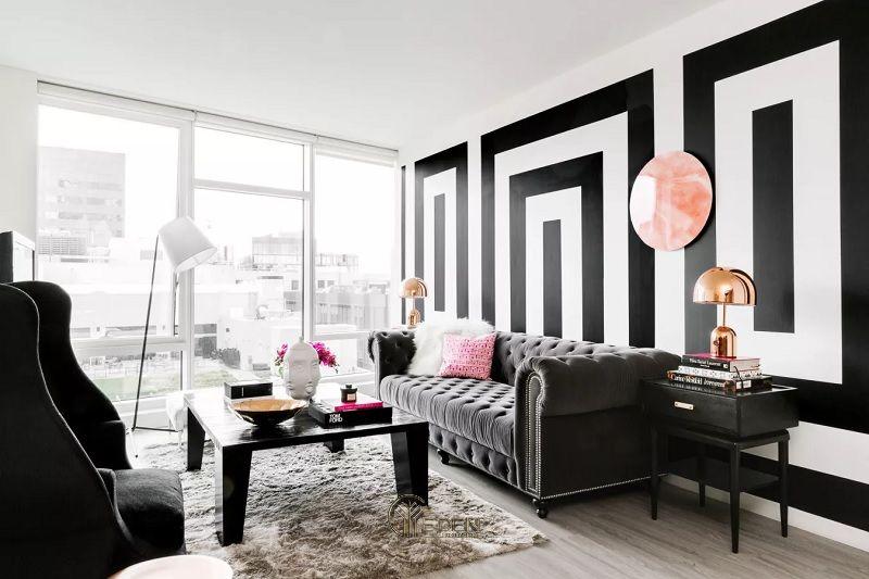 Mẫu thiết kế phòng khách với màu đen trắng