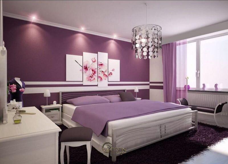 Phòng ngủ màu Lavenders tím lãng mạn cho các cặp đôi trẻ