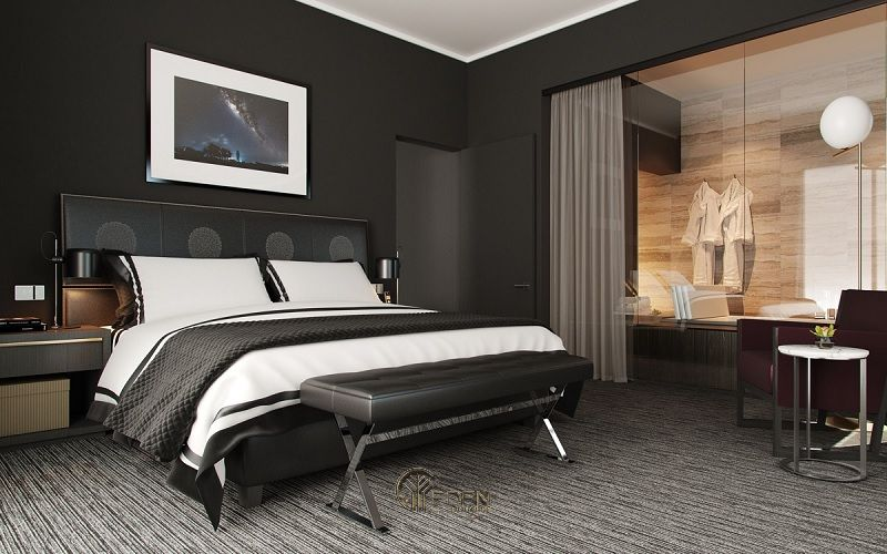 Màu sơn đen quý phái cho phòng ngủ phong cách hiện đại