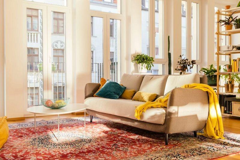 Mẫu thảm đương lại phù hợp với phong cách phòng khách ấm áp, cổ điển