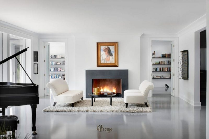 Mẫu thảm lông ấm áp tạo điểm nhấn phong cách phòng khách tối giản