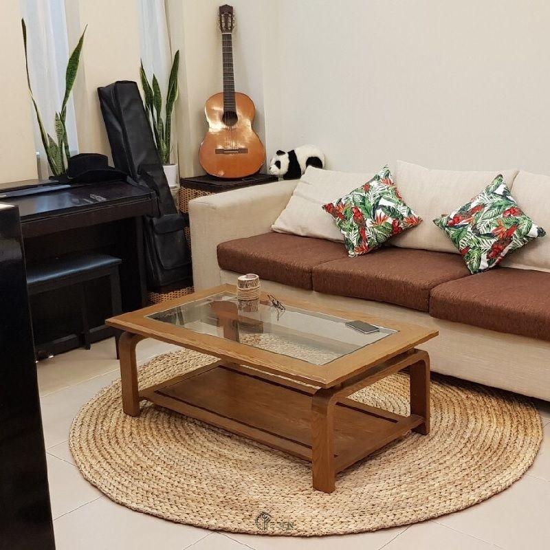kiểu dáng thảm tròn thường ưu tiên cho phòng khách có diện tích nhỏ