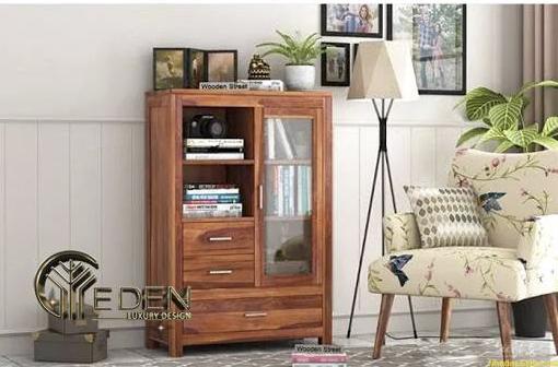 Tủ gỗ nhỏ đựng sách trong phòng khách tiện nghi, hiện đại