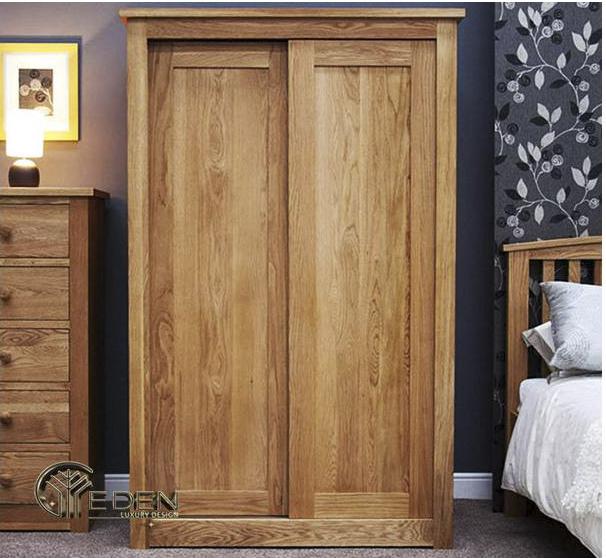 Tủ quần áo gỗ tự nhiên cánh cửa lùa nhỏ gọn, đường vân tự nhiên, đẹp