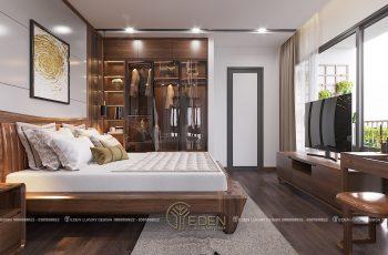 Thiết kế phòng ngủ Master biệt thự gỗ óc chó