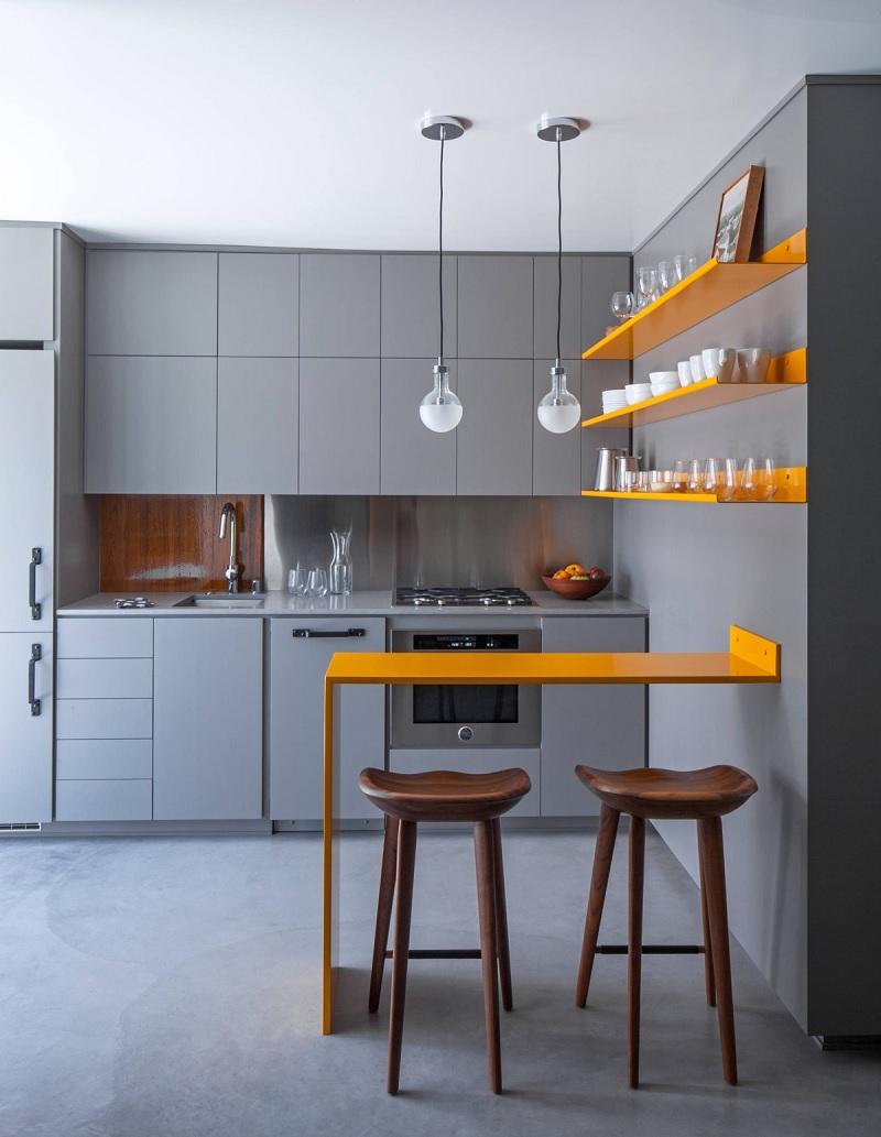 """Thiết kế bếp chung cư nhỏ với mẫu tủ bếp chữ """"I"""""""